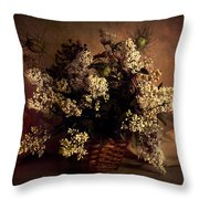 Still Life With White Flowers In The Basket Throw Pillow