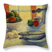 Stilleven Met Vis 1885 Throw Pillow