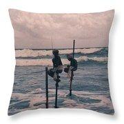 Stilt Fishermen Of Sri Lanka Throw Pillow