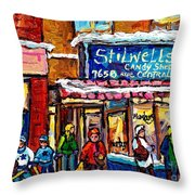 Stilwell's Candy Shop Montreal Memories Lasalle Verdun Winter City Scene Hockey Art Carole Spandau   Throw Pillow