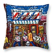 Stilwell's Candy Stop Winterscene Painting For Sale Montreal Hockey Art C Spandau Snowy Barber Shop Throw Pillow