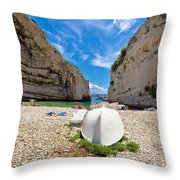 Stinva Bay Beach Summer View Throw Pillow