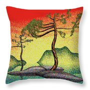 Stippling Geometric Pine 4 Throw Pillow
