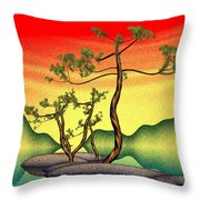 Stippling Geometric Pine Throw Pillow