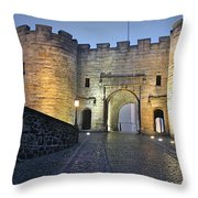 Stirling Castle Scotland In A Misty Night Throw Pillow