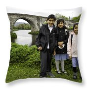 Stirling School Children By The Medieval Bridge  Throw Pillow