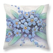 Stitched Forget-me-nots Throw Pillow