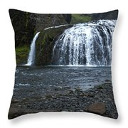 Stjornarfoss Waterfall - Iceland Throw Pillow