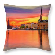 Stockholm Fiery Sunset Reflection Throw Pillow