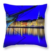 Stockholm Old City Blue Hour Serenity Throw Pillow