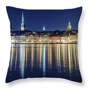 Stockholm Old City Magic Quartet Reflection In The Baltic Sea Throw Pillow