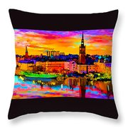 Stockholm Reflective Art Throw Pillow