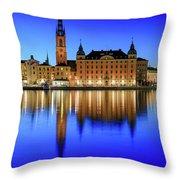 Stockholm Riddarholmen Blue Hour Reflection Throw Pillow