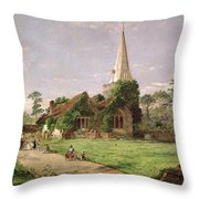 Stoke Poges Church Throw Pillow by Jasper Francis Cropsey
