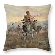 Stolen Horses Throw Pillow by Charles Marion Russell