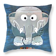 Stomp The Elephant Recycled License Plate Animal Art Throw Pillow