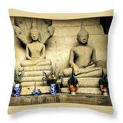 Stone And Flowers - Buddhist Shrine Throw Pillow