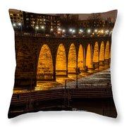 Stone Arch Bridge Night Shot Throw Pillow