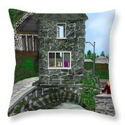 Stone Bridge House In The Uk Throw Pillow