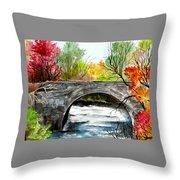 Stone Bridge In Maine  Throw Pillow