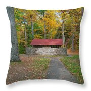 Stone Building In The Park Throw Pillow