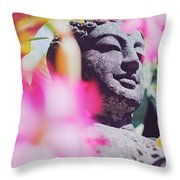 Stone Carved Statue Of Buddha Surrounded With Colorful Flowers Bali, Indonesia Throw Pillow