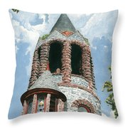 Stone Church Bell Tower Throw Pillow