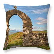 Stone Church In Autumn Throw Pillow
