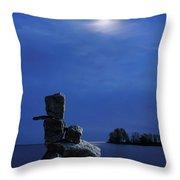 Stone Figure In Moonlight Throw Pillow