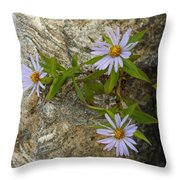 Stone Flowers Blue Throw Pillow