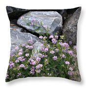 Stone Flowers Pink Throw Pillow