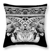 Stone Lion Column Detail Throw Pillow
