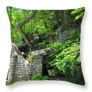Stone Stairway Along The Wissahickon Creek Throw Pillow
