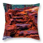 Stone Steps In Autumn Throw Pillow