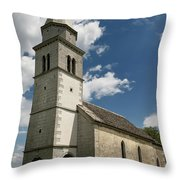 Stone Tile Roof Of The Church Of The Holy Cross In Tomaj Parish  Throw Pillow