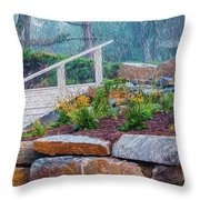 Stone Wall And Stairs Throw Pillow