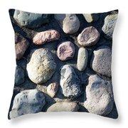 Stone Wall At Gallup Park Throw Pillow