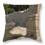 Stone Wall In Foca Throw Pillow