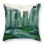 Stonehenge In Spring Throw Pillow