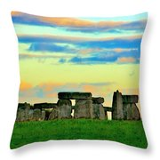 Stonehenge Sunset In Spring Throw Pillow