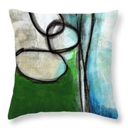 Stones- Green And Blue Abstract Throw Pillow
