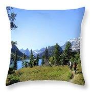 Stoney Indian Pass Trail Around Cosley Lake - Glacier National Park Throw Pillow