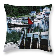 Stonington Harbor With Pier Maine Coast Throw Pillow