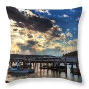 Stonington Lobster Boats Throw Pillow