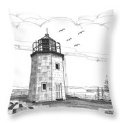 Stony Point Lighthouse Throw Pillow by Richard Wambach