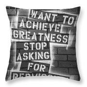 Stop Asking For Permission Bw Throw Pillow