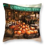 Store - Hoboken Nj - The Fruit Market Throw Pillow