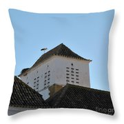 Stork And Nest On Roof In Faro. Portugal Throw Pillow