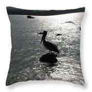 Stork At Evening Throw Pillow