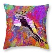 Stork Fly Elegant Feather Bird  Throw Pillow